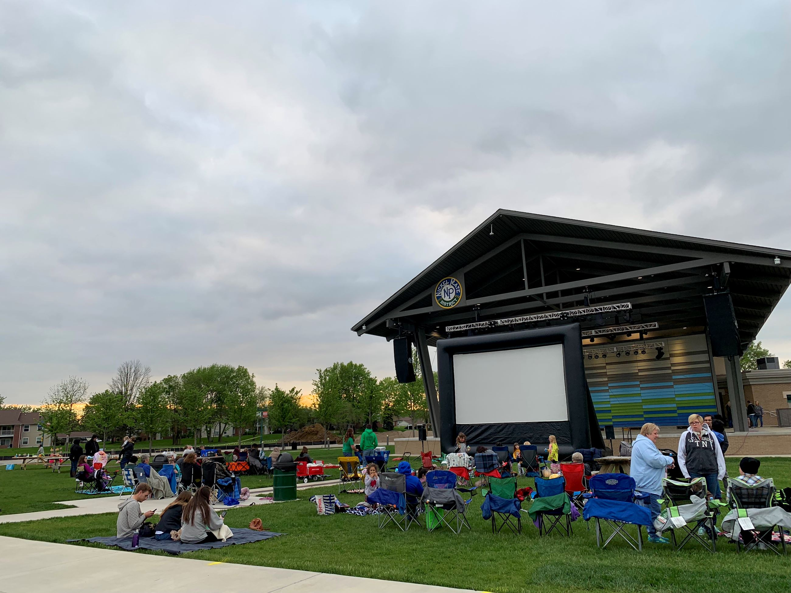 Large movie screen at the NPD AMP
