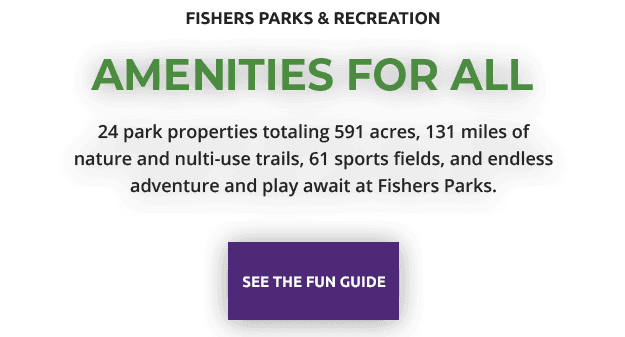 amenities for all: 24 park properties totaling 591 acres, 131 miles of nature and nulti-use trails,